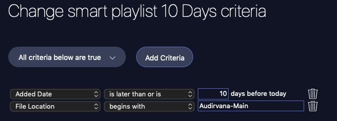 Smart Playlist Criteria