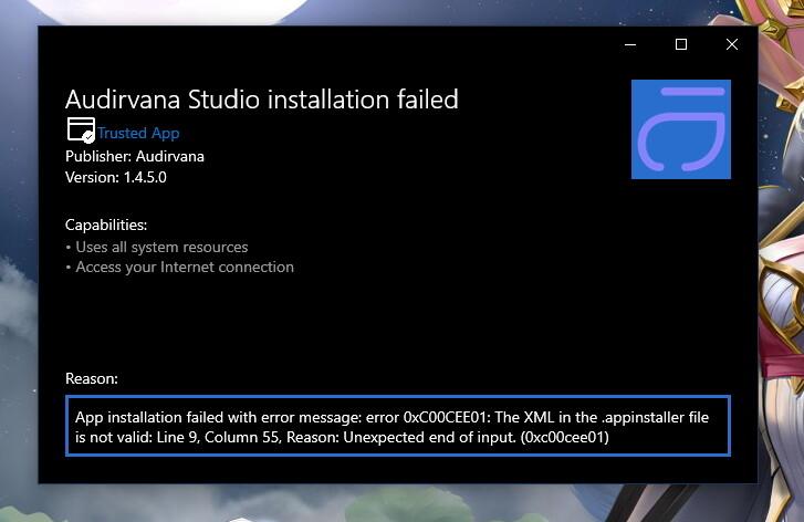 Audirvana Error Message